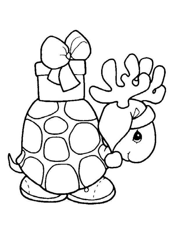 Kerst Kleurplaat Van Een Schildpad Met Een Kado Op Z N Rug Met