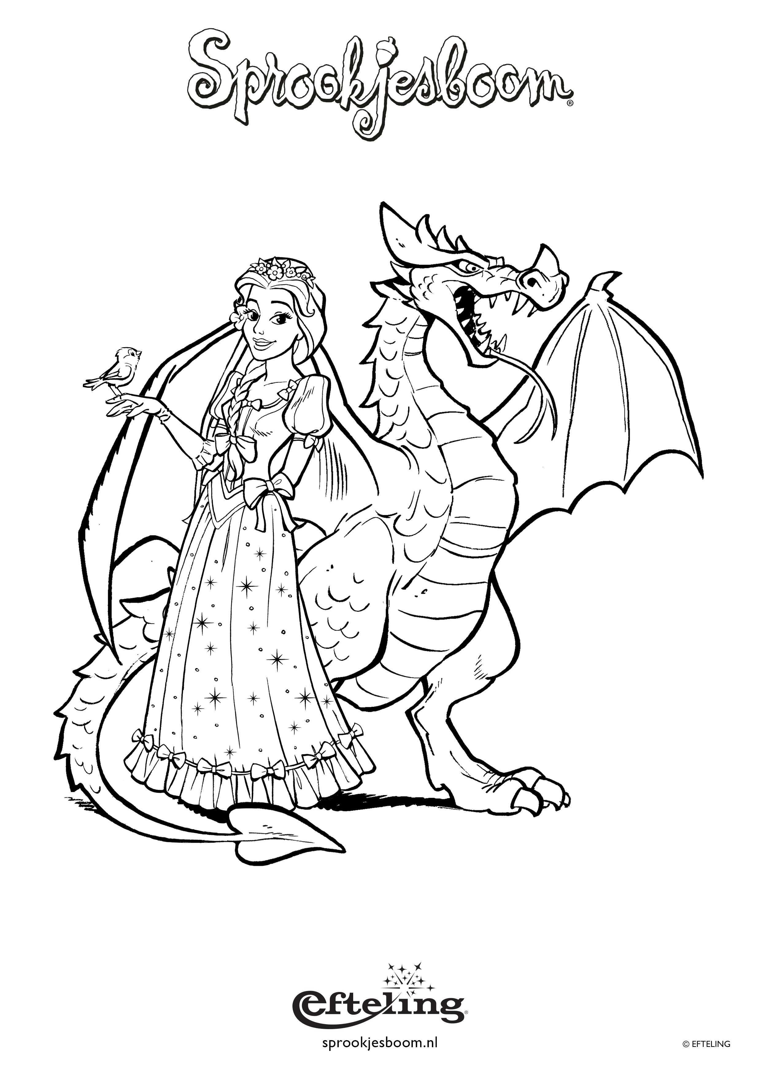Sprookjesboom Kleurplaat Met Assepoester En Draak Met