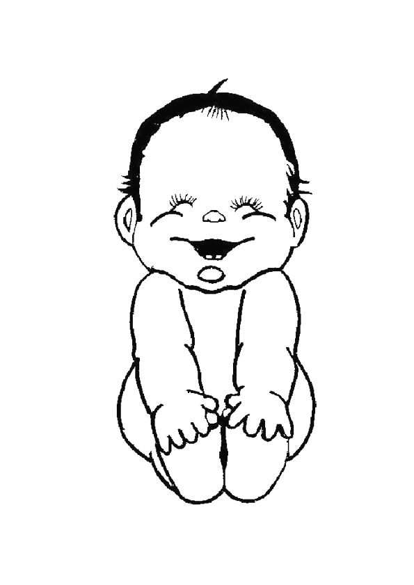 Kleurplaat Van Een Lachende Baby Baby Tekening Lachende Baby
