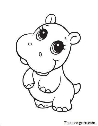 Baby Hippo Kleurplaten Kleurplaten Voor Kinderen En Baby Hippo