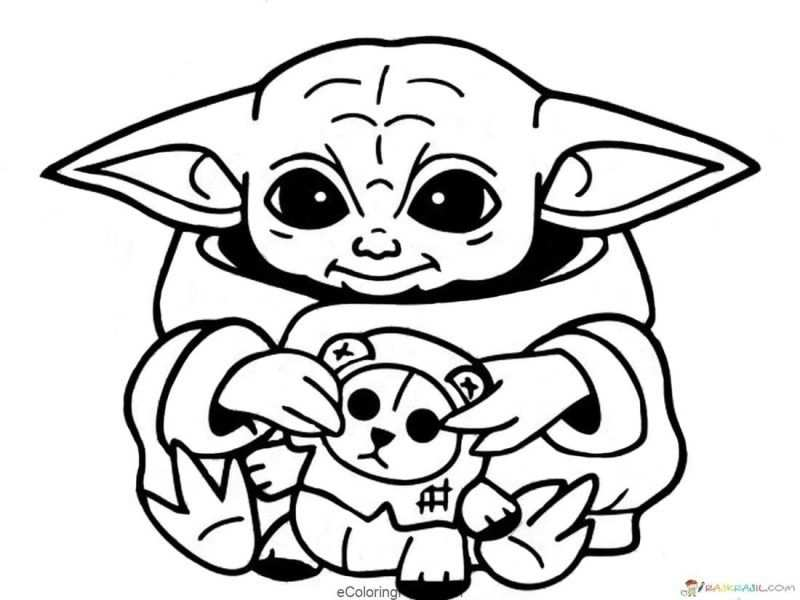 Star Wars Baby Yoda And Mandalorian Coloring Pages In 2020 With