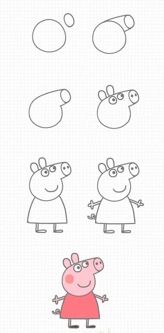 Stappenplan Peppa Big Tekenen Met Afbeeldingen Kind Tekening