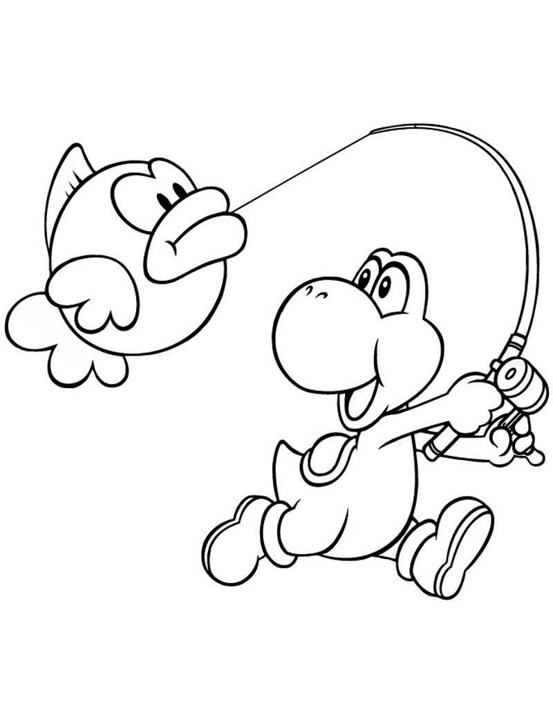 Yoshi Coloring Pages For Kids Super Mario Coloring Pages
