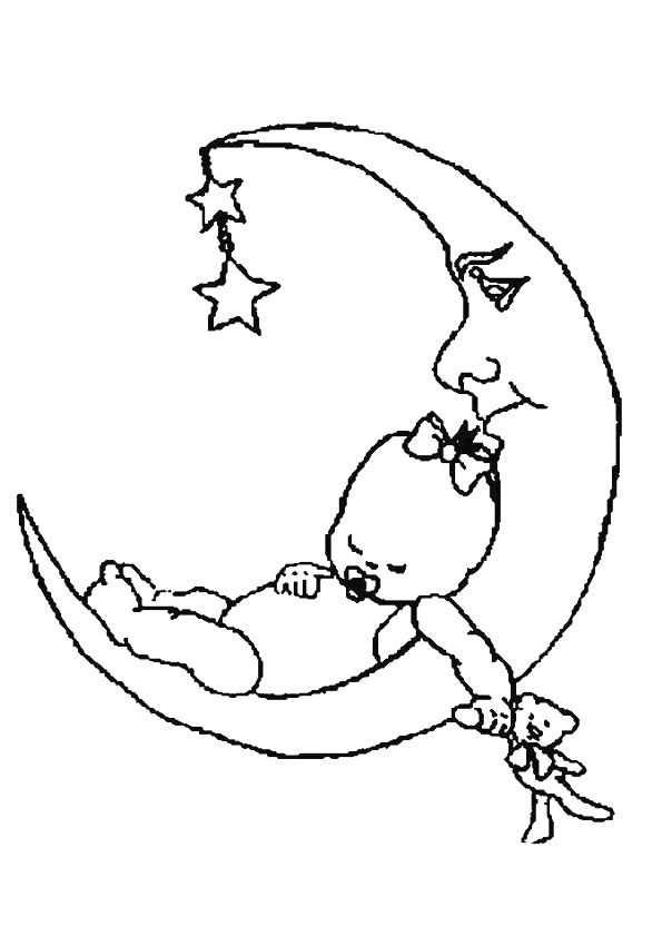 Kleurplaat Van Een Baby Ligt Te Slapen Op De Maan Met