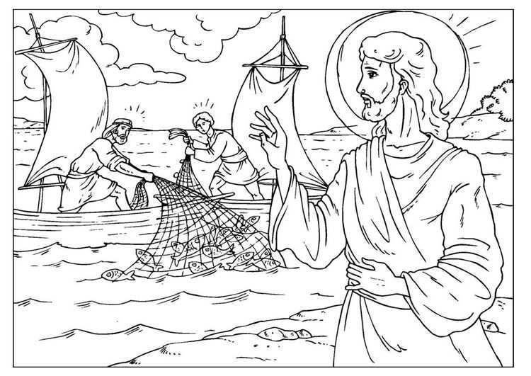 Kleurplaat De Wonderbaarlijke Visvangst Bible Coloring Pages