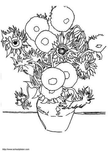 Kleurplaat Vincent Van Gogh Zonnebloemen Met Afbeeldingen