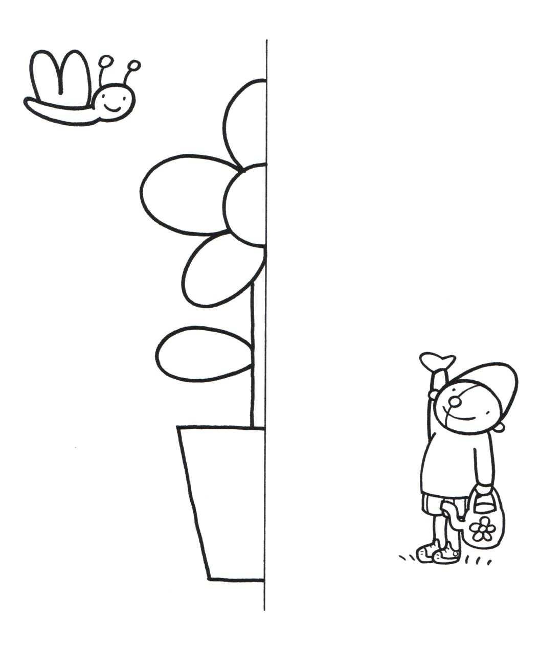 Werkblad Teken De Andere Helft Met Afbeeldingen Thema
