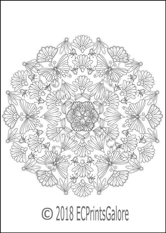Butterfly Mandala Kleurplaat Voor Volwassenen Instant Download