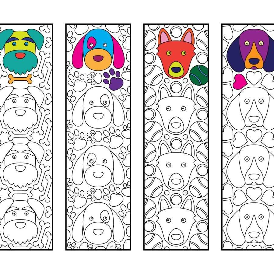 Cute Dog Bookmarks Pdf Zentangle Coloring Page Kleurplaten