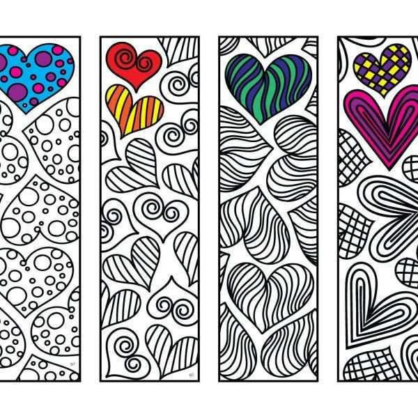 Heart Bookmarks Pdf Zentangle Coloring Page Bladwijzers Diy