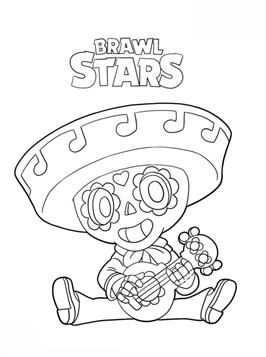 Coloring Page Brawl Stars Poco Brawl Stars With Images Star
