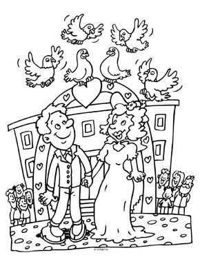 Kleurplaat Huwelijk Trouwen Duiven Kleurplaten Nl Kinderen Op