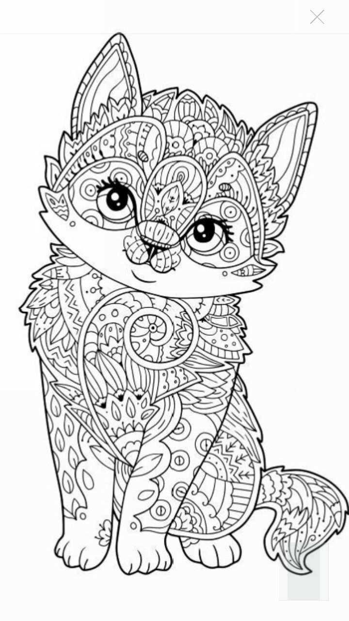 Cute Kitten Coloring Page Kleurplaten Mandala Kleurplaten
