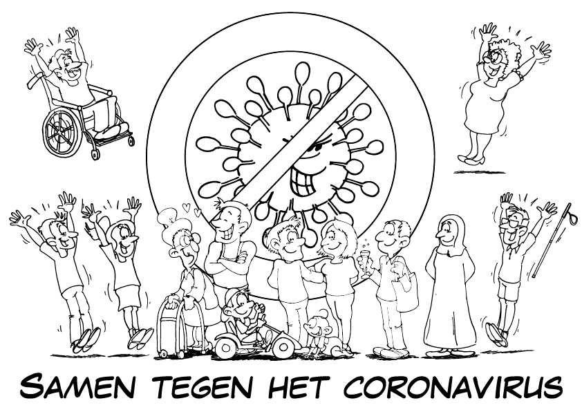 Kleurplaat Samen Tegen Corona Loko Cartoons