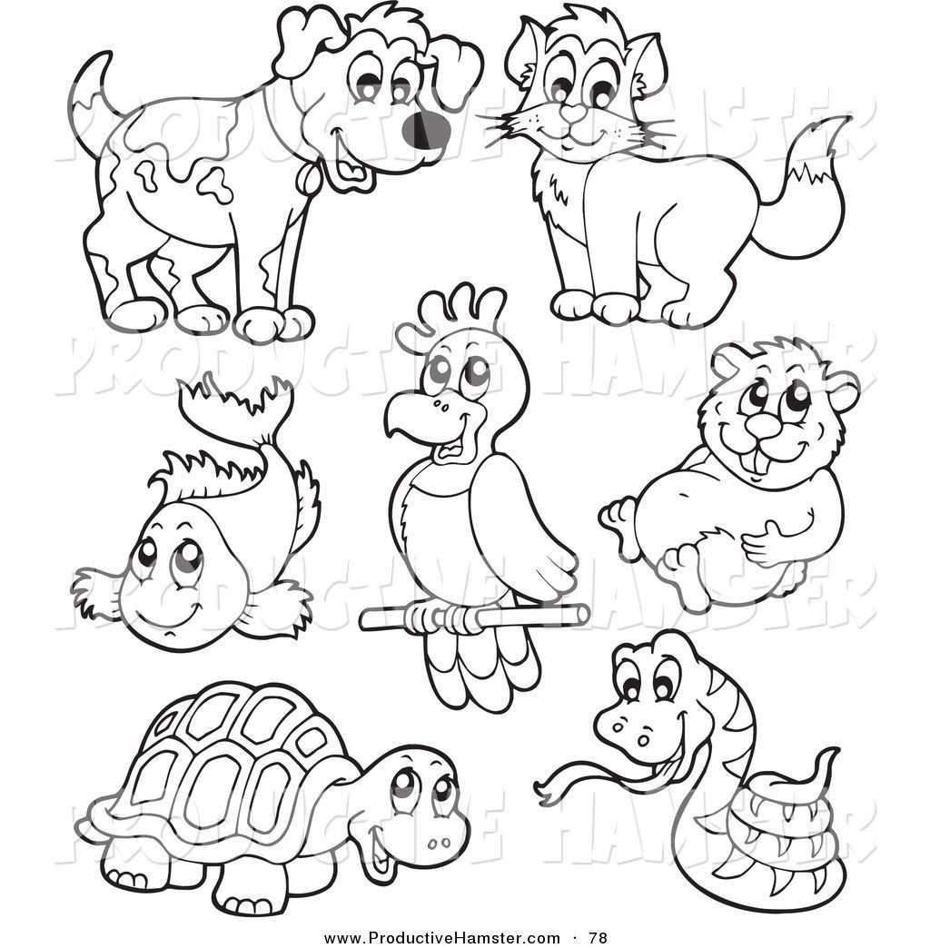 Pet Pictures Free Clip Art Of An Outlined Hamster And Other Pets