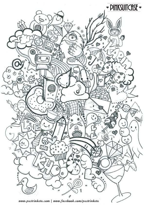 Abstract Doodle Zentangle Coloring Pages Colouring Adult Detailed