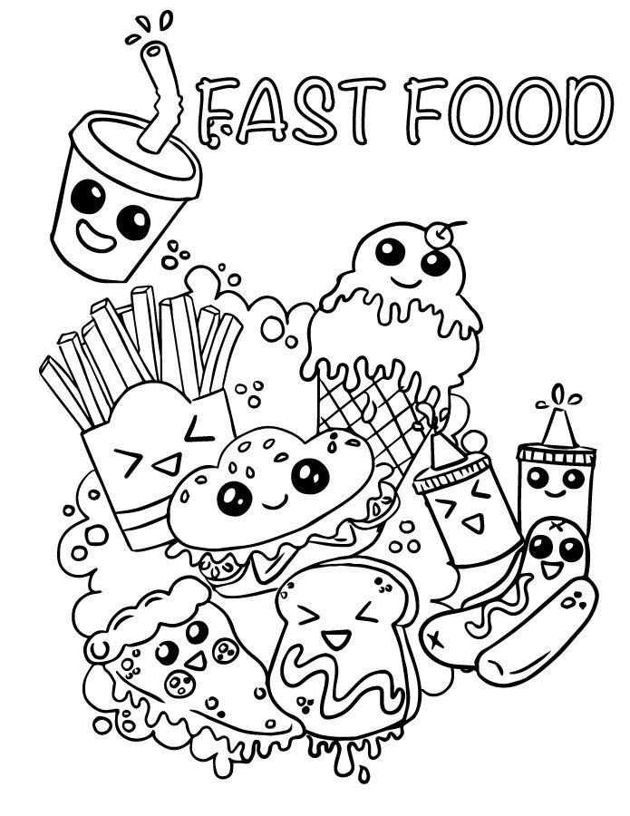 Coloriage Emoji Fast Food Adorable A Imprimer Avec Images