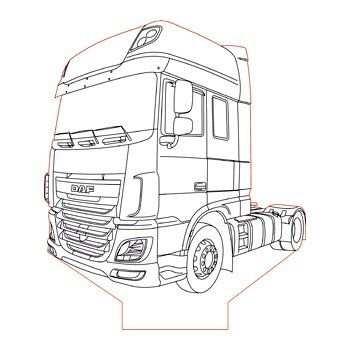 Daf Xf 106 Truck 3d Illusion Lamp Plan Vector File Com Imagens