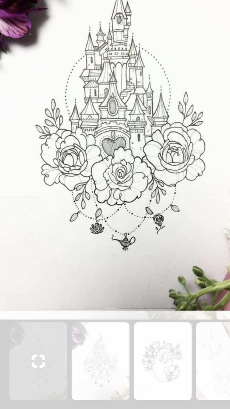 Disneyland Cinderella Castle Und Aladdins Lampe Disney Tattoo