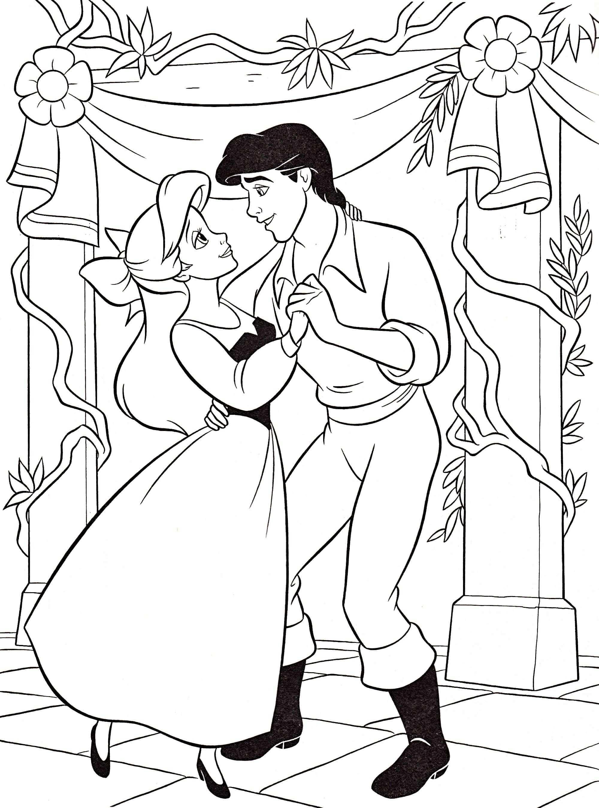 Image Disney Princess Coloring Pages Ariel And Eric Met