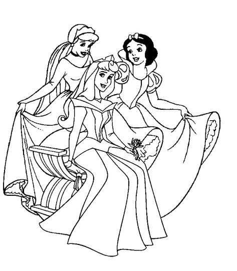 Kleurplaat Disney Prinsessen Assepoester Doornroosje En