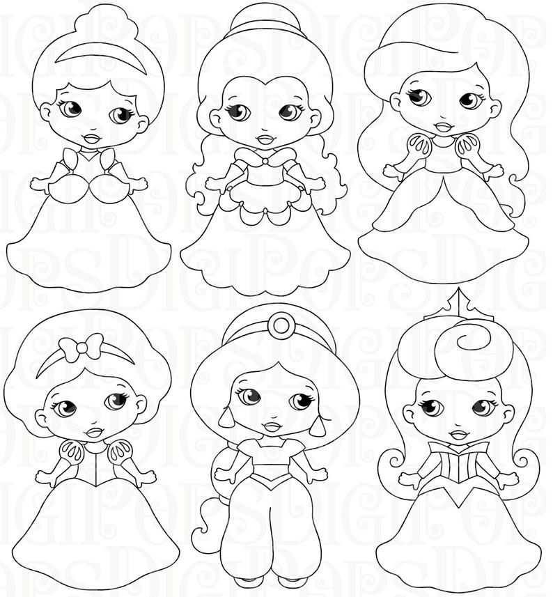 Piccole Principesse B W Digital Clipart Impostare Personali E