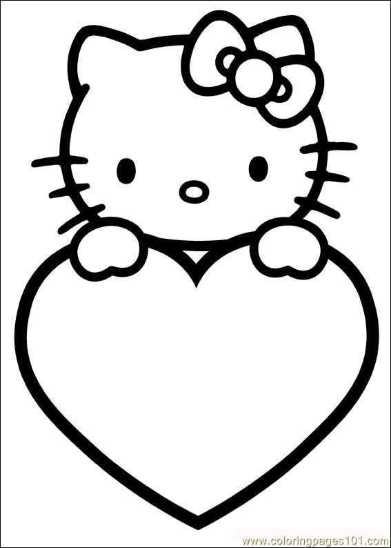Kleurplaat Hello Kitty Valentijn Met Afbeeldingen Kleurplaten