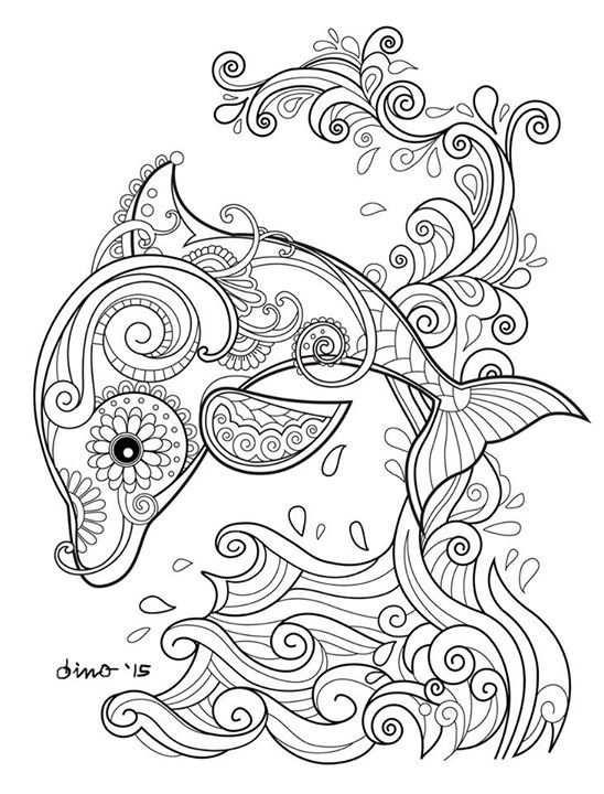 Pin Van Sjanet Blom Op Dolfijn Kleurplaten Mandala Kleurplaten