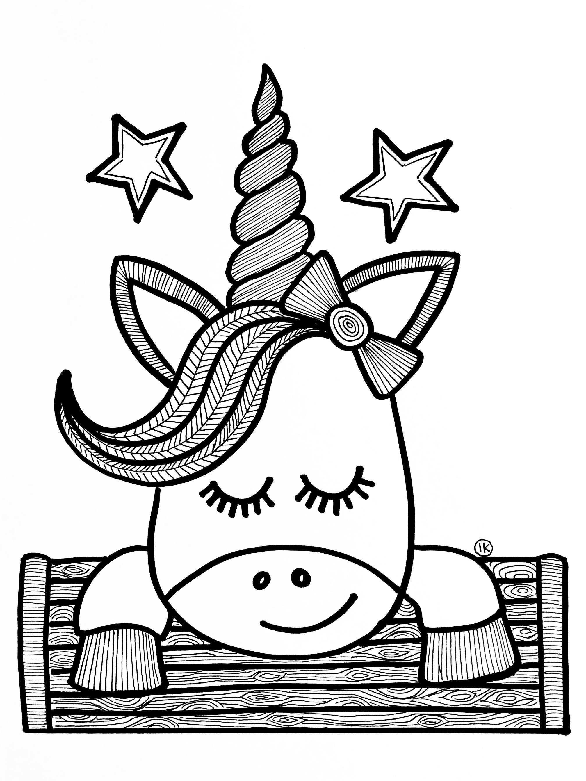 eenhoorn unicorn kleurplaat makkelijk
