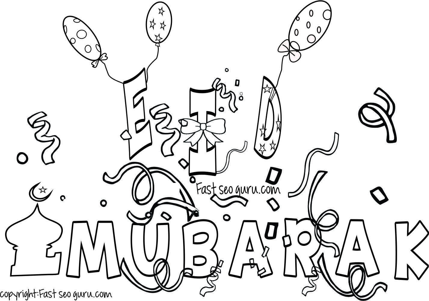 Eid Mubarak Coloring Pages For Kids With Images Kids Printable