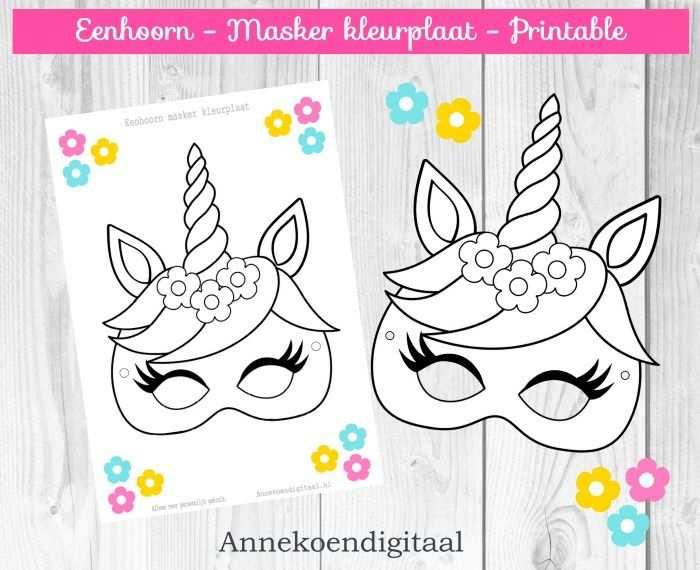 Eenhoorn Masker Kleurplaat Gratis Printable Feestje Knutselen