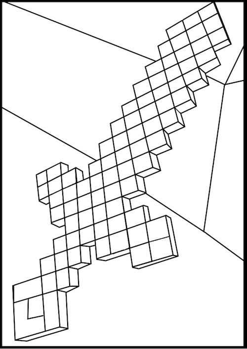Minecraft Diamond Sword Coloring Page Minecraft Coloring Pages