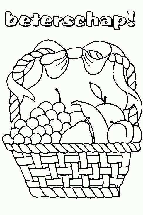 Fruitmand Kleurplaten Beterschap En Knutselen