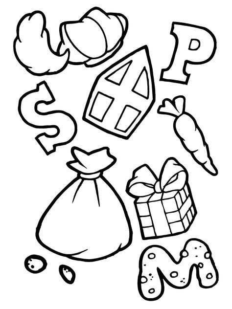 Letter Snoepjes Cadeautjes Van Sinterklaas Kleurplaat Met