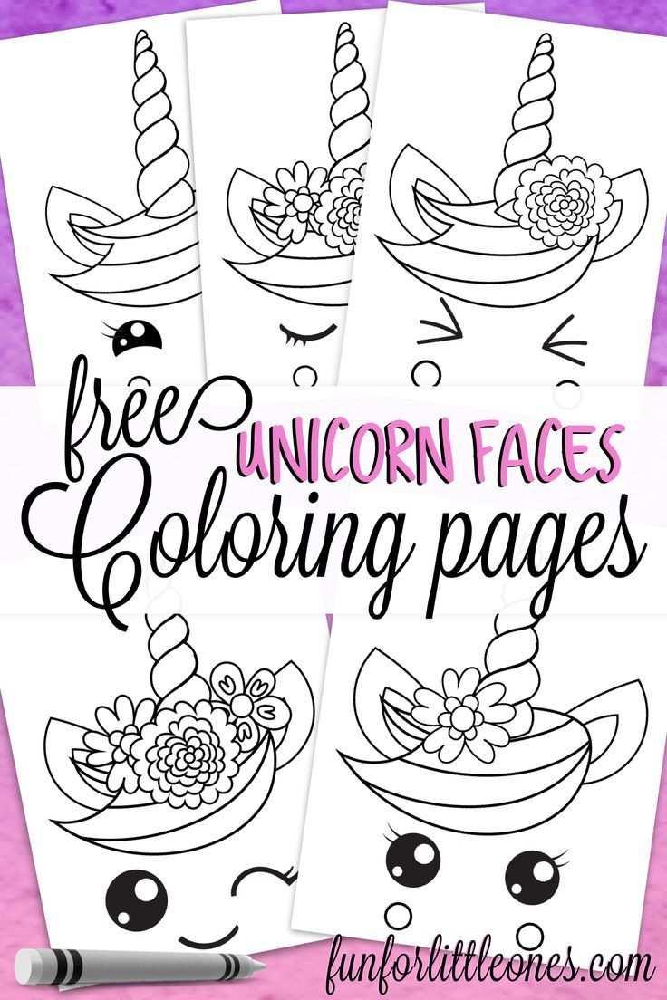 Unicorn Faces Coloring Pages For Kids Knutselen 5 Jaar Eenhoorn