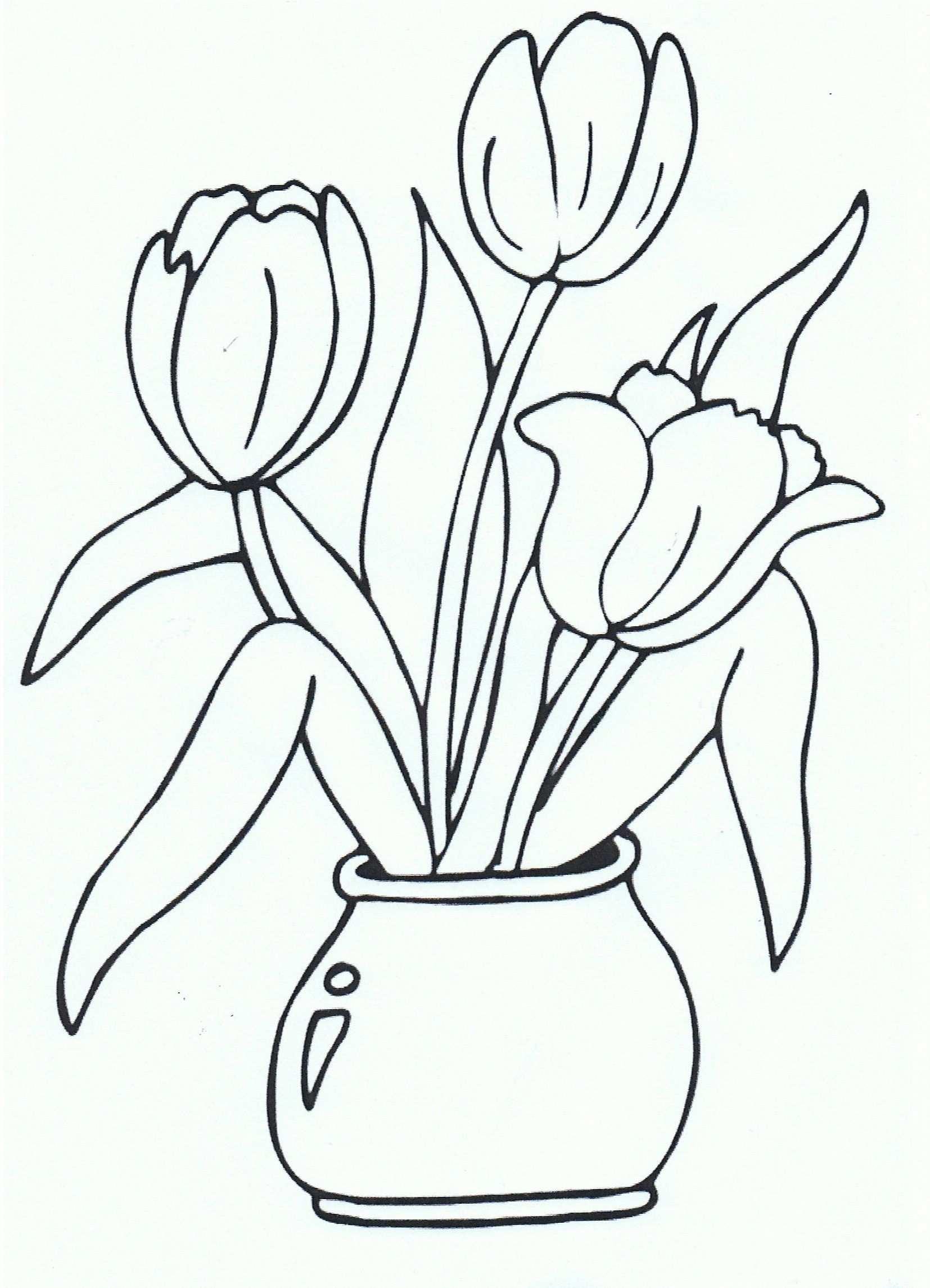 Kleurplaat Tulpen Coloring Page Tulips Kleurplaten Bloem