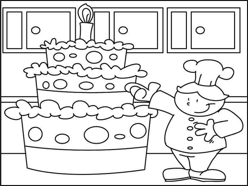 Kleuterdigitaal Kp Bakker Met Taart 02 Kleurplaten School En