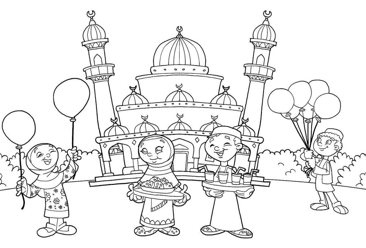 Gambar Untuk Mewarnai Anak Muslim Dengan Gambar Halaman