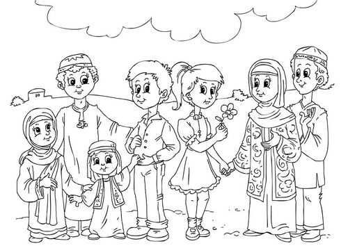 Muslim Children Kleurplaten Gratis Kleurplaten Cultuur