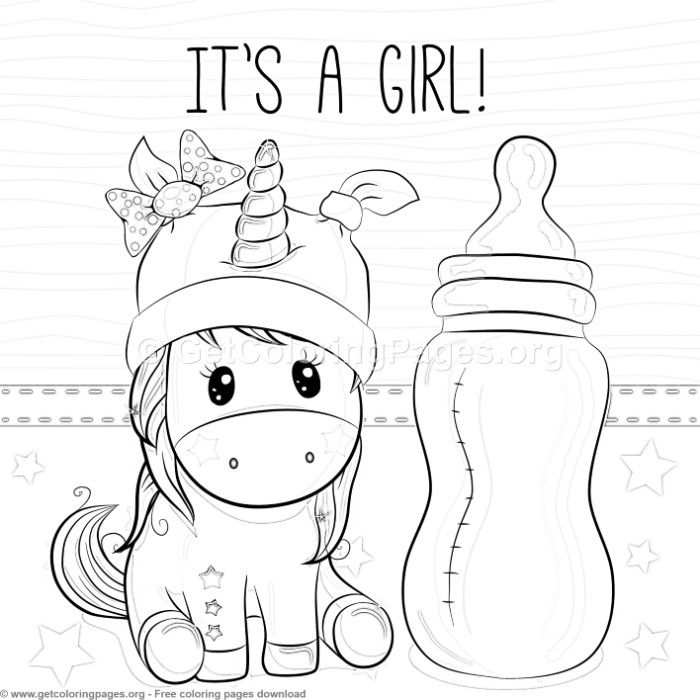 It S A Girl Unicorn Coloring Pages Free Instant Download Coloring