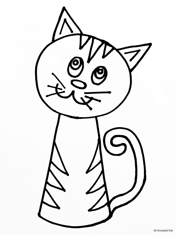 Kleurplaten Katten Met Afbeeldingen Katten Tekening Katten