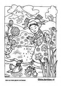 Kleurplaat Japan Kleuteridee Nl Japan Coloring Free Printable