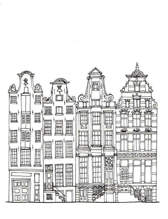 Amsterdamse Grachtenpanden Getekend Vanuit Normaal Standpunt