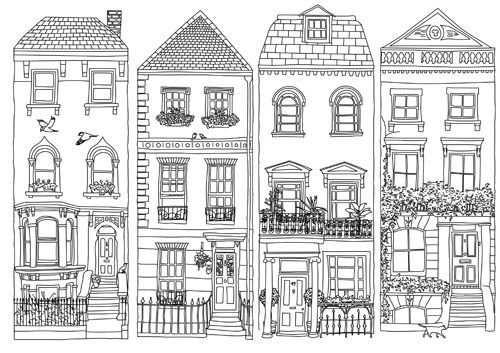 Amsterdamse Huisjes In 2020 Kleurplaten Zentangle Patronen