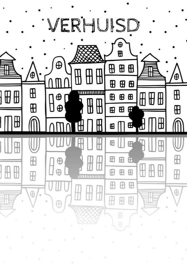 Verhuiskaart Met Amsterdamse Huisjes En Reflectie Verhuis Kaart
