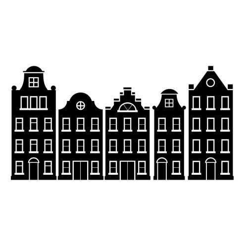 Amsterdamse Huisjes Sticker Raamsticker Muursticker Raamstickers