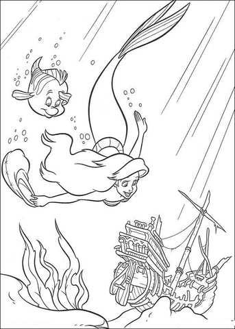 Ariel En Botje Zwemmen Samen Kleurplaat Gratis Kleurplaten Printen
