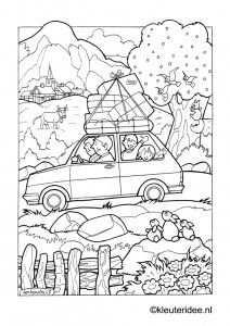 Op Vakantie Met De Auto Kleurplaat Op Kleuteridee On Holiday By