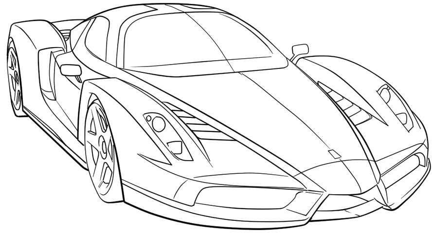 Ferrari Sport Car High Speed Coloring Page Ferrari Car Coloring