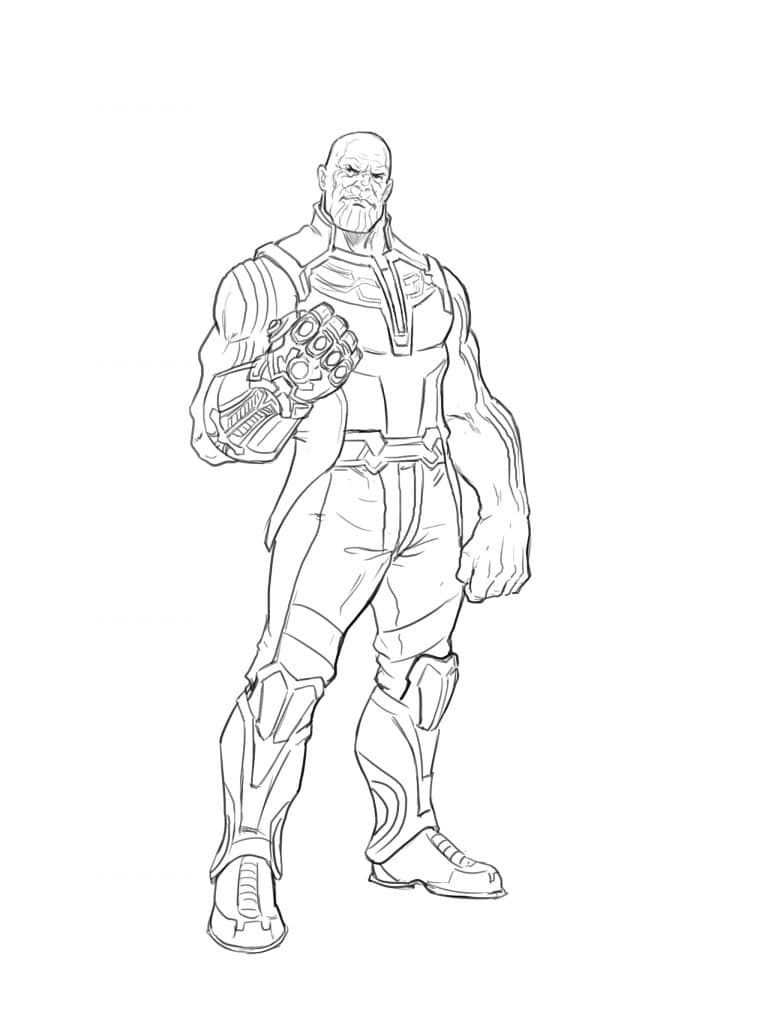 How To Draw Thanos From The Avangers Superhero Coloring Pages